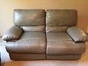 Grey Leather Double Reclining Loveseat