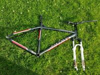 Carrera mountain bike frame rockshox forks (with poplock)and race face carbon fibre bars