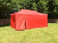 Gazebo awnings 3m x 4.5m or 3m x 6m red or blue with full sides and door new boxed