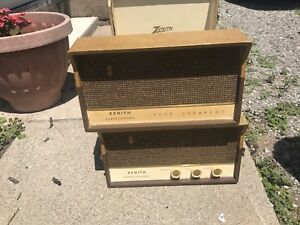 Vintage record player with speakers