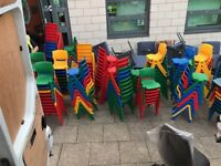 Children's chairs.solid coloured plastic used but mint condition
