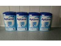 Four tubs of aptamil suitable from birth