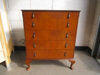 VINTAGE WILLIAM LAWRENCE MAHOGANY AND MAHOGANY VENEER FIVE DRAWER CHEST OF DRAWERS FREE DELIVERY