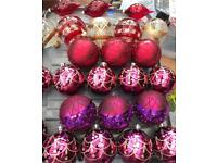 Box of quality Christmas baubles & decorations - mixed styles inc metal, clear glass, pink & purple