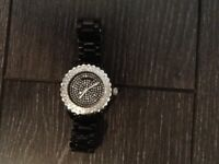 Fashion Black Watch With Crystal Face & Dial, Very Bling