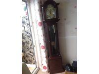 Grandfather clock inlaid reproduction mahogany
