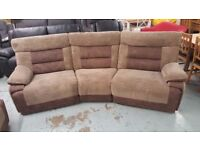 Ex Display SCS Brown Nelson 4 Seater Curved Manual Recliner Sofa Can Deliver View Collect NG177