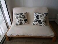 Futon Company double sofabed/futon (GOOD condition) RRP £649 with cream cover (RRP £89)