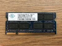 2GB Laptop Memory - Nanya PC2-6400 DDR2 2GB SO-DIMM 800 MHz DDR2 (NT2GT64U8HD0BN-AD)
