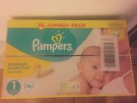 Pampers Size 1 Jumbo Pack, 96 pieces