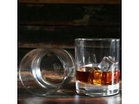 TMG Scotch Glasses, 2 10 oz Whiskey Glass, Diamond Etched