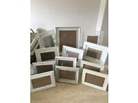 12 shabby chic photo frames. All cream/off white