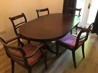 Dining Table in dark wood finish with 5 chairs