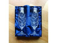 Hand Cut Lead Crystal Flutes / Glasses