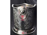 Regency Style English Silver Plate Champagne Wine Cooler Ice Bucket Lion Handles
