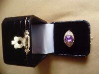 Amethyst and Diamond 18ct gold dress ring
