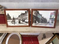 Pair Framed Black & White Photograph Prints Of Old Falkirk High Street