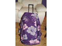 Frenzy Travel Wheeled Luggage Trolley Holdall Bag Plum