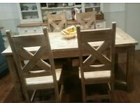 solid kitchen table with marble inlay, and 4 chairs