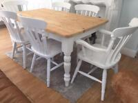 5ft Shabby Chic Chunky Farmhouse Pine Table and 6 Lovely Chairs Inc 2 Carvers