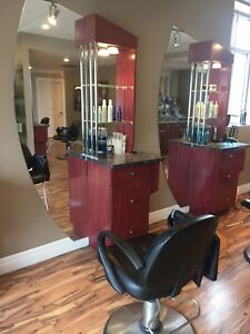Hairstyling stations with chair
