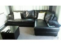 Leather left hand corner sofa