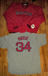 ADULT XXL BOSTON RED SOX NEW WITH TAGS JACKET & D. ORTIZ SHIRT