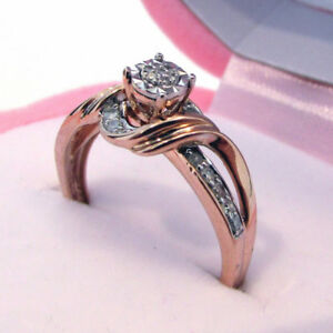 Superbe Bague en or ROSE 10k Diamants véritables!!!