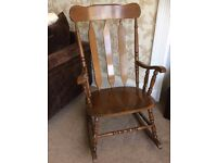 Traditional wooden rocking chair.