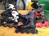 Three pairs of kids adjustable online skates