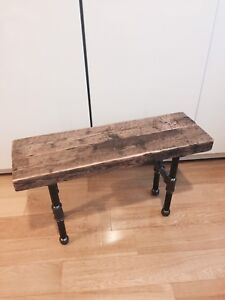 RUSTIC RECLAIMED VINTAGE WOOD BENCH WITH PIPE LEGS