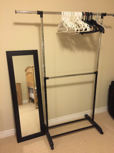 Cloth Rack and 50+ Hangers and Mirror
