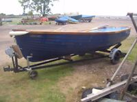 Dinghy 12ft GRPRefited Cedar Gunnels and Thworts Good trailer Seagull Silver Century Oars Rowlocks