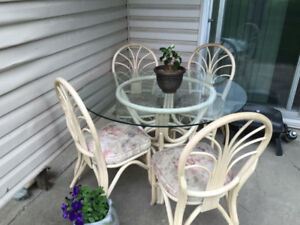 Wicker Glass Table & Chairs