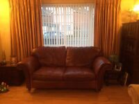 LAURA ASHLEY 2 seater Mortimer brown leather sofa