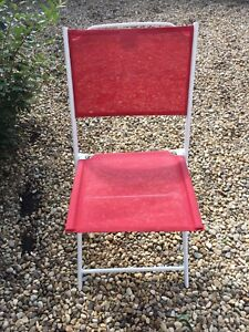 4 Red Folding Chairs