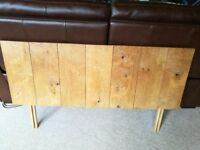 headboard for double bed - solid wood - probably oak - lovely character - grain and whorls