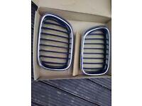 BMW X5 e53 original front bonnet grill - pair - silver chrome