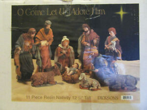 "GORGEOUS ""DICKSON'S"" 11 PIECE RESIN NATIVITY SET. 12 3/4"" H."