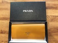 Stunning Authentic rare Prada Saffiano mustard yellow leather wallet