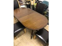 Dining oval corner table & chairs