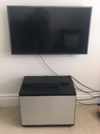 Bang and Olufson black and stainless steel TV unit