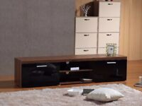 BRAND NEW MODERN LARGE 2M TV STAND CABINET UNIT WITH HIGH GLOSS DOORS- Black On Walnut