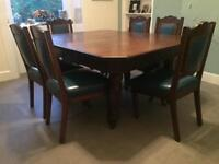 Antique vintage oak unusual dinning table & chairs £300
