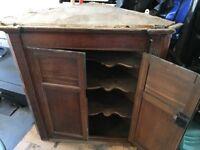 Antique Wood Corner Cabinet - Needs Restoring