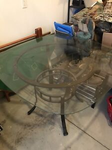Glass Dining Room Table - with 4 Matching Chairs