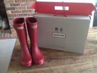 Girls red hunter wellies size 2