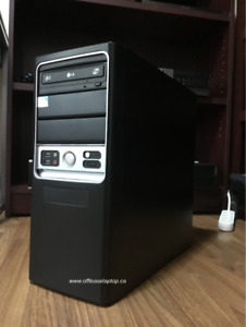 Black PC Tower Desktop, Windows 10 & 90 Day Warranty