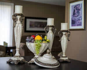 Candle holders and decorative bowl.