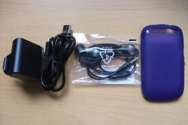 Accessories for BlackBerry Curve 9320 Mobile Phone - Charger, Earphones and Purple Soft Shell Case